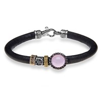 Platadepalo Brown Leather Bracelet With Silver Zircon And Bronze Pink Purple Brown