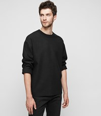 Reiss Lonesome Ribbed Crew Neck Jumper In Black