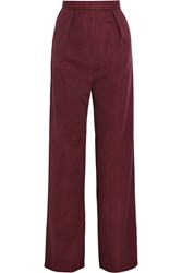 Vilshenko Lydia Cotton And Silk Blend Wide Leg Pants Red