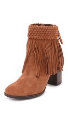 Schutz Cecile Removable Fringe Booties Wood
