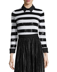 Alice Olivia Marlee Sequin Trim Wool Sweater Black White