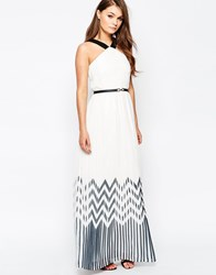 Little Mistress Zig Zag Maxi Dress With Contrast Straps White