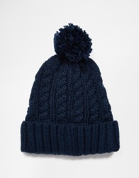 French Connection Bobble Beanie Blue