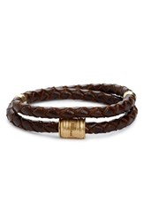 Miansai Men's Braided Leather Bracelet Brown Brass