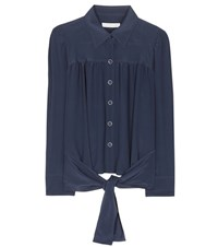 Chloe Cropped Silk Blouse Blue