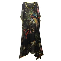 Klements Empress Kaftan In Volcano Print Black
