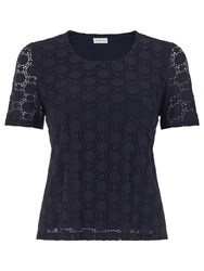 Eastex Circle Lace Scoop Neck Top Navy