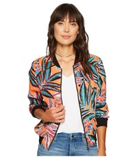 Bb Dakota Yount Jungle Sunrise Printed Rayon Crepe Bomber Orange Bloom Women's Coat Multi