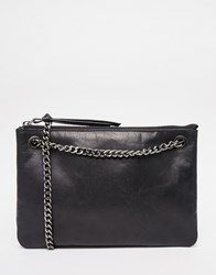 Urbancode Leather Half Moon Bag With Chain Strap Black