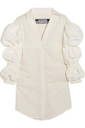 Jacquemus Shirred Cotton Jacquard Mini Dress White