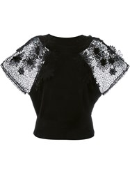 Emanuel Ungaro Lace Appliqua Sleeve Blouse Black