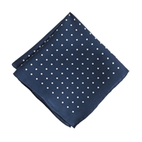 J.Crew Boys' Silk Pocket Square In Polka Dot Classic Navy