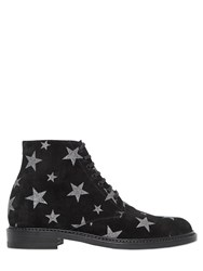 Saint Laurent 20Mm Lolita Stars Suede Lace Up Boots