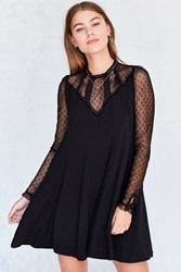 Kimchi And Blue Constance Embroidered Mesh Mock Neck Frock Dress Black