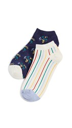 Madewell Retro Floral Two Pack Ankle Socks Cream Rainbow Navy Floral