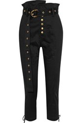 Marissa Webb Gia Cropped Lace Up Cotton Blend Skinny Pants Black