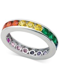 Giani Bernini Multi Color Cubic Zirconia Channel Set Eternity Band In Sterling Silver Only At Macy's