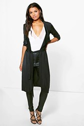 Boohoo Shawl Collar Belted Slinky Duster Black