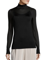 Dkny Mesh Long Sleeve Turtleneck Top Black