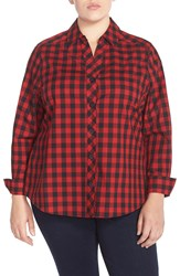Foxcroft Yarn Dyed Gingham Shirt Plus Size Rouge Red