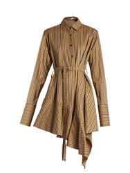 Palmer Harding Asymmetric Hem Striped Dress Khaki