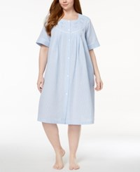 Miss Elaine Plus Size Embroidered Checkered Short Robe Blue White Gingham