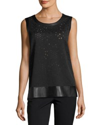 Lafayette 148 New York Sleeveless Lace Top W Faux Leather Trim Black