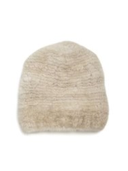 The Fur Salon Mink Hat Pearl