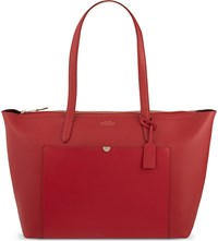 Smythson Panama East West Leather Tote Red