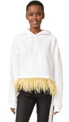 Opening Ceremony Cropped Feather Hoodie White