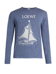 Loewe Sailboat Intarsia Wool Sweater Light Blue