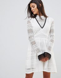Millie Mackintosh High Neck Lace Dress White