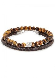 Simon Carter Leather And Tiger's Eye Bracelets Brown