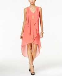 Thalia Sodi Ruffled High Low Shift Dress Only At Macy's Cool Salmon