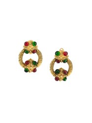Chanel Vintage Gripoix Clip On Hoop Earrings Multicolour