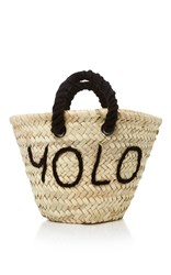 Poolside L'petit Embroidered Straw Tote Black