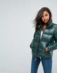 Tommy Jeans High Shine Padded Down Jacket Green