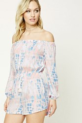 Forever 21 Contemporary Tie Dye Romper Pink Blue