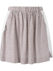 See By Chloe Embroidered Panel Striped Skirt
