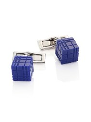 Burberry Enamel And Stainless Steel Cube Cuff Links
