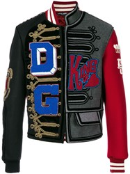 Dolce And Gabbana Asymmetric Patch Detail Bomber Jacket Multicolour