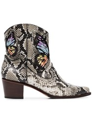 Sophia Webster Multicoloured Shelby 50 Snake Print Leather Cowboy Brown