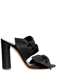 Casadei 100Mm Bow Leather Mules W Chunky Heel