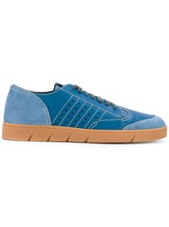 Loewe Lace Up Sneakers Men Calf Leather Leather Rubber 43 Blue