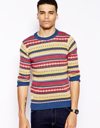 Native Youth Crew Neck Jumper Jacquard Red