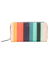 Paul Smith Striped Zip Around Wallet Women Calf Leather One Size