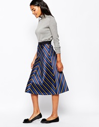 Sportmax Code Romina Midi Skirt In Chevron Stripe Midnightblue