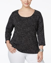 Charter Club Plus Size Dot Print Top Only At Macy's Deep Black Combo
