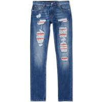 Alexander Mcqueen Distressed Jean Blue