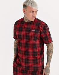 Good For Nothing Co Ord Oversized T Shirt In Red Tartan With Chest Logo